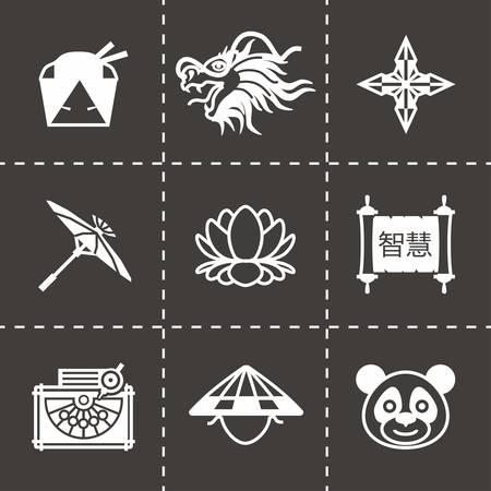 china icon: Vector China icon set on black background