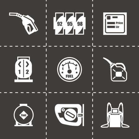 fossil fuel: Vector Gas station icon set on black background Illustration