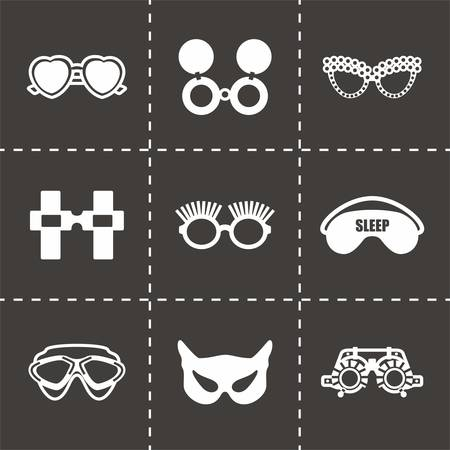 eyewear fashion: Vector Glasses icon set on black background Illustration