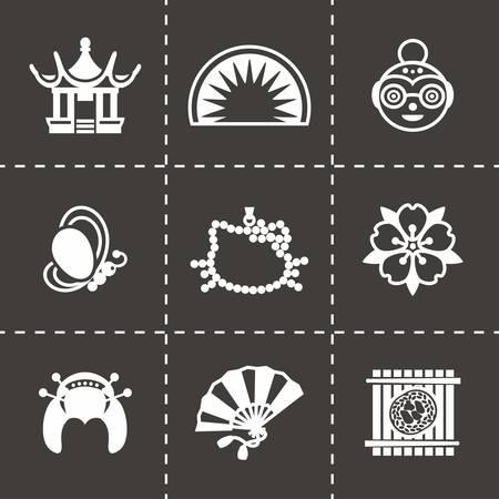 neko: Vector Japan icon set on black background