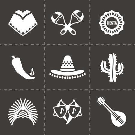 Vector Mexico icon set on black background  イラスト・ベクター素材