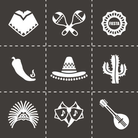 mayas: Vector Mexico icon set on black background Vettoriali