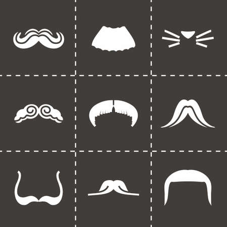 chaplin: Vector Mustaches icon set on black background Illustration
