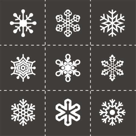 enero: Vector del copo de nieve conjunto de iconos sobre fondo negro
