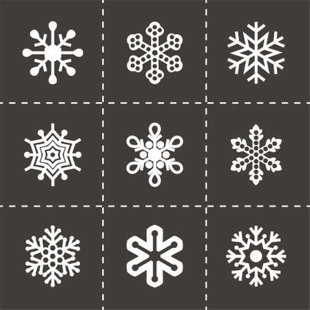 Vector Snowflake icon set op een zwarte achtergrond Stock Illustratie