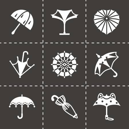 beach closed: Vector Umbrella icon set on black background