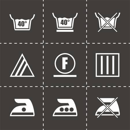 bleach: Vector Washing signs icon set on black background Illustration