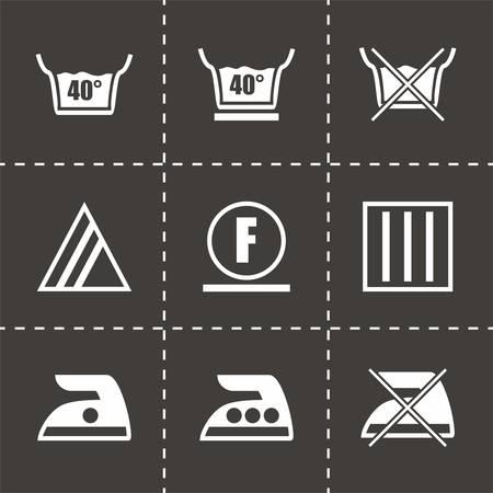 laundry care: Vector Washing signs icon set on black background Illustration