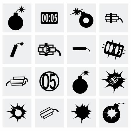 vector bomb: Vector bomb icon set on grey background Illustration
