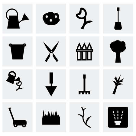 carrot tree: Vector Gardening icon set on grey background