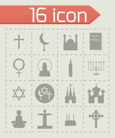 shofar: Vector Religion icon set on grey background Illustration