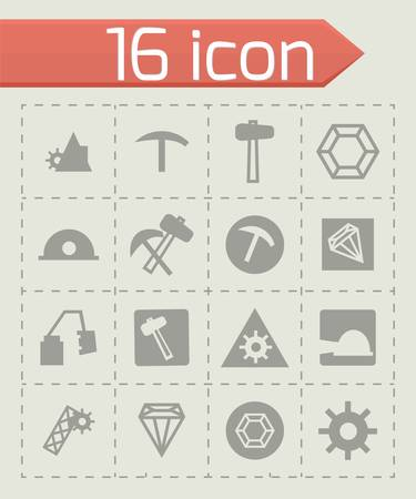 fire pit: Vector mining icon set on grey background