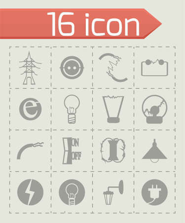 Vector Electricity icon set on grey background