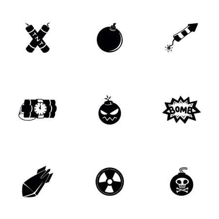 detonated: Vector Bomb icon set on white background