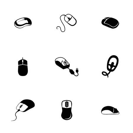 small group of objects: Vector Computer mouse icon set on white background Illustration