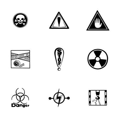 gas mask warning sign: Vector Danger icon set on white background Illustration