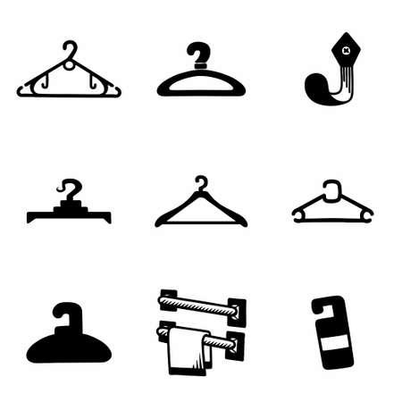 clothing rack: Vector Hanger icon set on white background