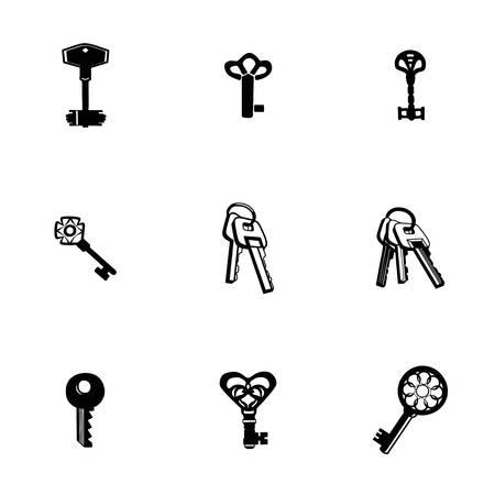 old padlock: Vector Key icon set on white background Illustration