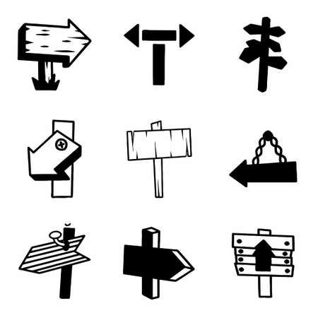 plywood: Vector old wood sign icon set on white background Illustration