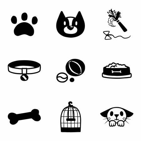 dog leash: Vector Pet icon set on white background Illustration