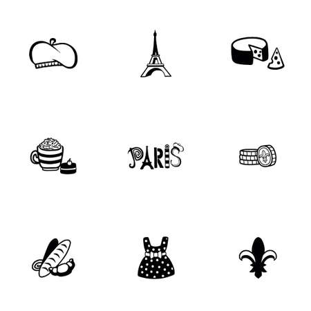 frenchwoman: Vector Paris icon set on white background