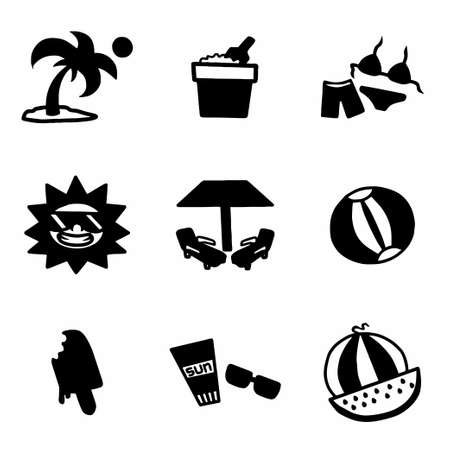 sunglasses recreation: Vector Summer icon set on white background