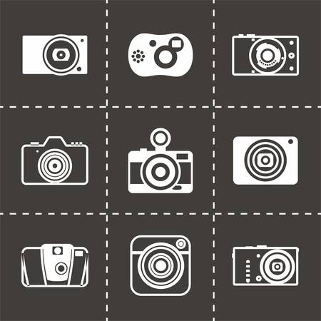 photo icon: Vector Camera icon set on black background Illustration