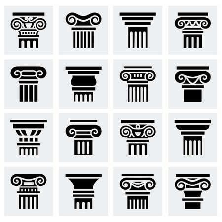 Vector Column icon set on grey background