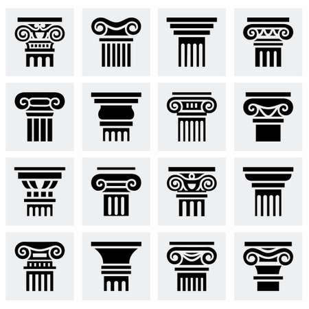 Vector Column icon set on grey background