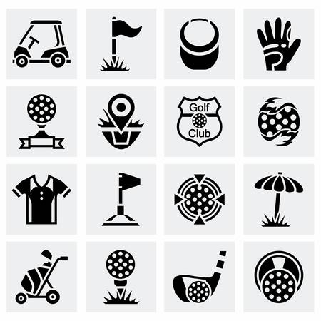 golf man: Vector Golf icon set on grey background