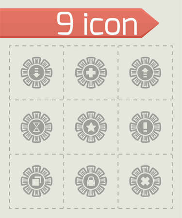 page down: Vector Archive icon set on grey background