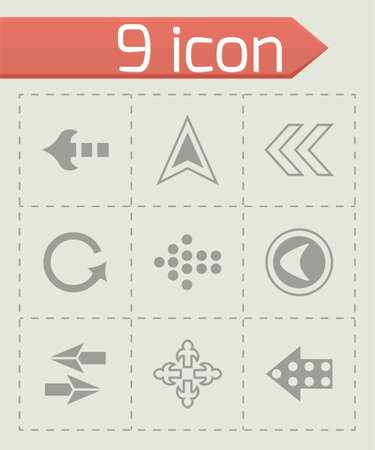 satin round: Vector Arrows icon set on grey background
