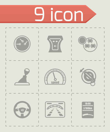 lavaliere: Vector Car dashboard icon set on grey background