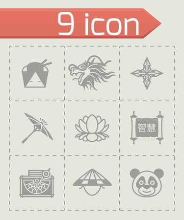 china icon: Vector China icon set on grey background Illustration