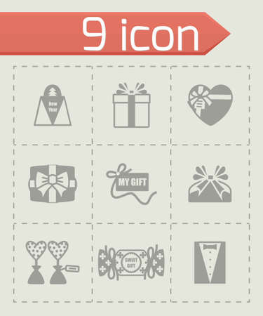 giftware: Vector Gift icon set on grey background Illustration