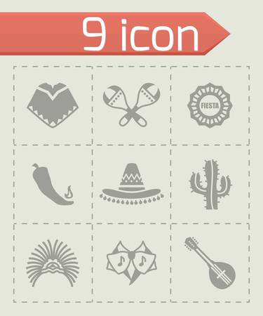 Vector Mexico icon set on grey background