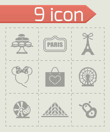french culture: Vector Paris icon set on grey background