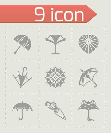beach closed: Vector Umbrella icon set on grey background
