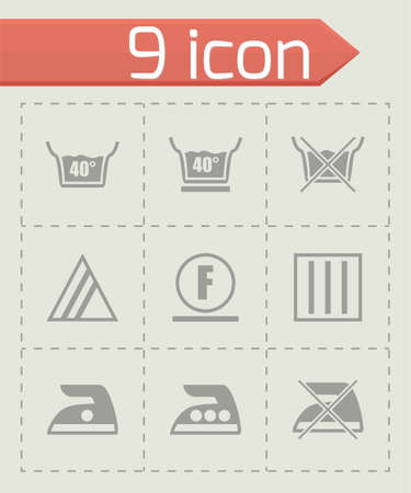laundry care symbol: Vector Washing signs icon set on grey background