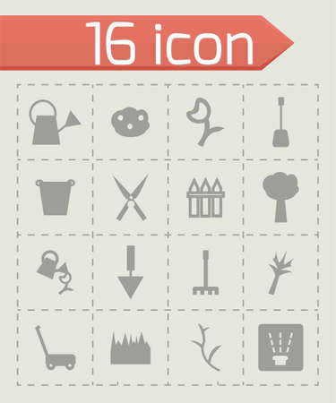 mowing the grass: Vector Gardening icon set on grey background