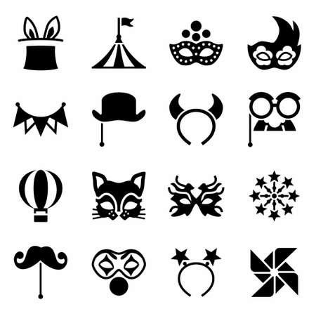 paper mache: Vector Carnival icon set on white background Illustration