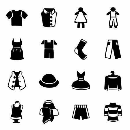 button down shirt: Vector Clothes icon set on white background Illustration