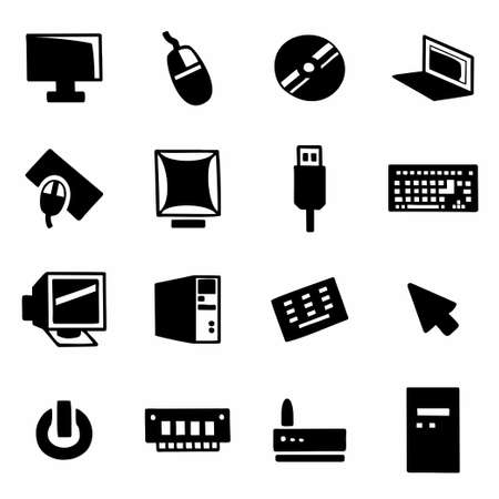 lcd panel: Vector Computer icon set on white background