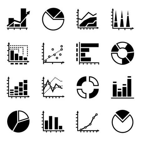 increment: Vector Diagrams icon set on white background