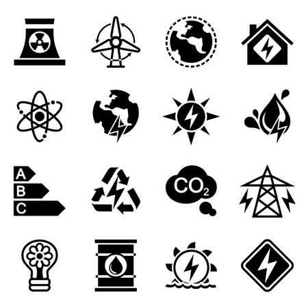 space industry: Vector Energetics icon set on white background