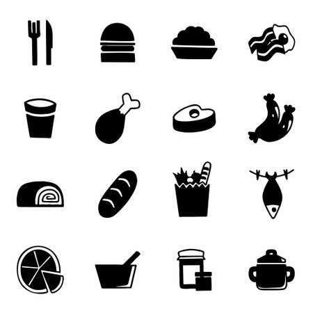lo mein: Vector Food icon set on white background