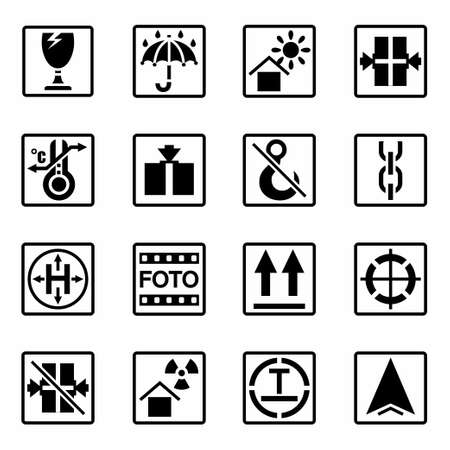 table of contents: Vector Marking of cargo icon set on white background