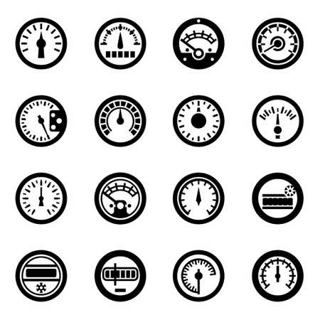 electric meter: Vector Meter icon set on white background