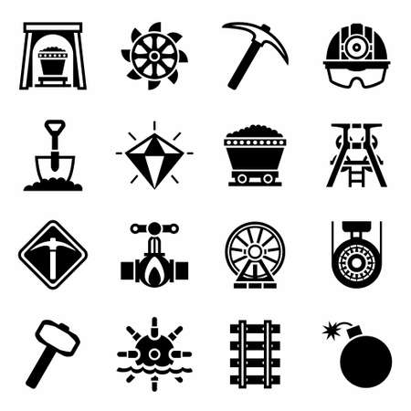 Vector Mining icon set on white background