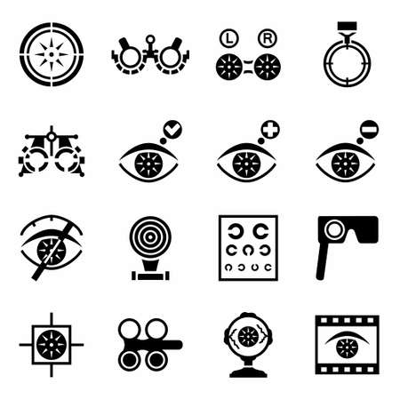 optometry: Vector Optometry icon set on white background